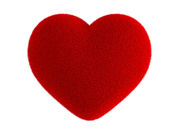 Red heart fur Red heart fur isolated on white background fluffy stock pictures, royalty-free photos & images