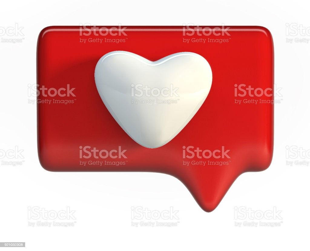 Ícone de um coração vermelho. Mídias sociais como símbolo. - foto de acervo