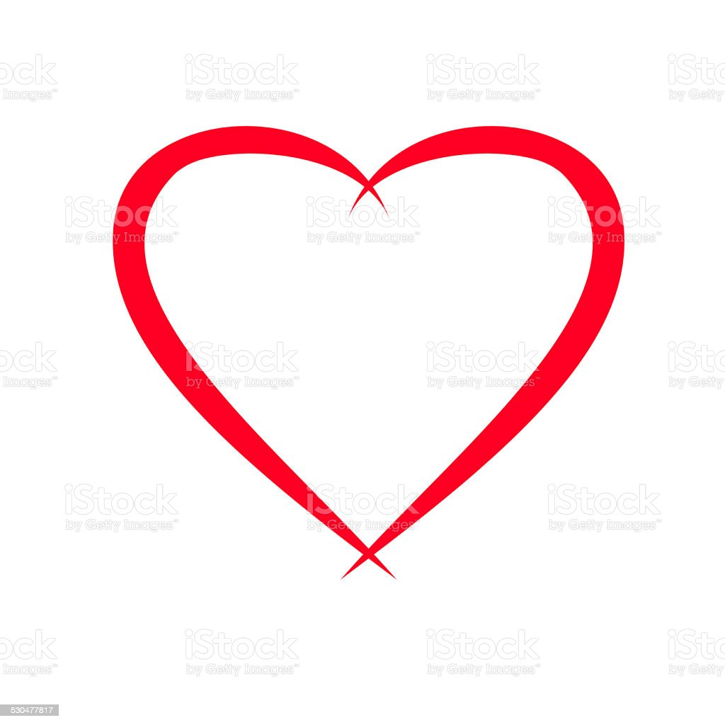 red heart illustration on white background stock photo