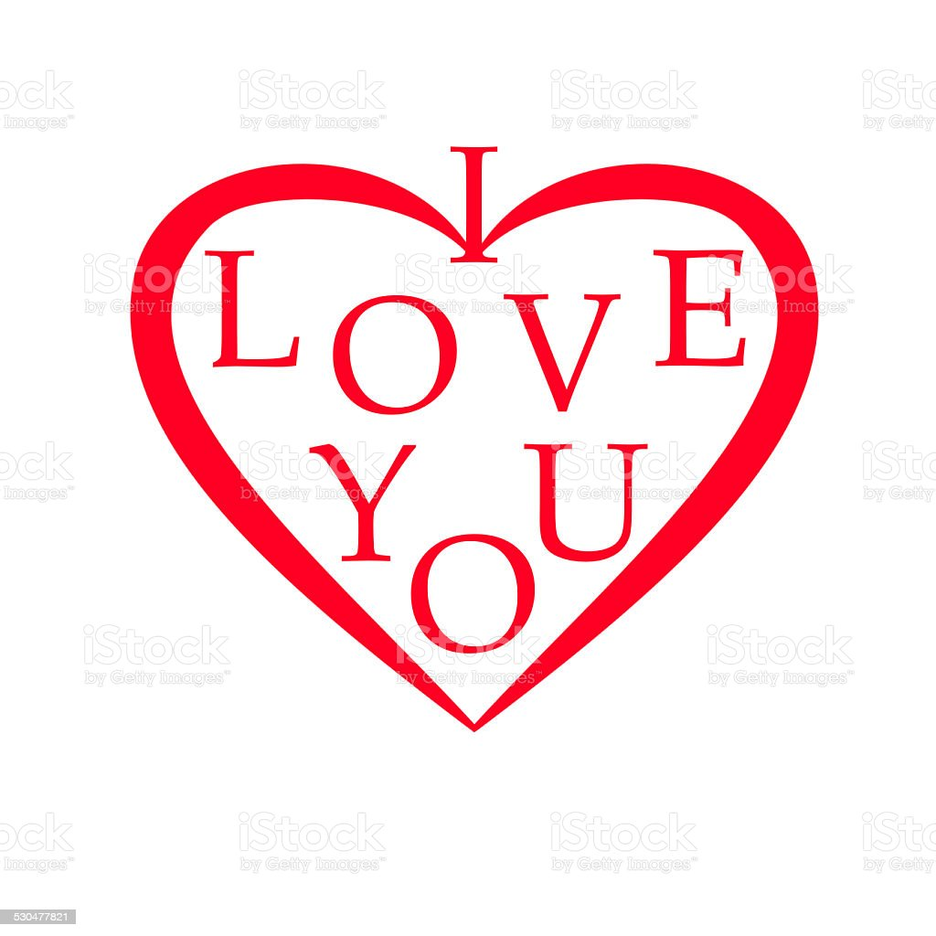 red heart illustration with i love you stock photo