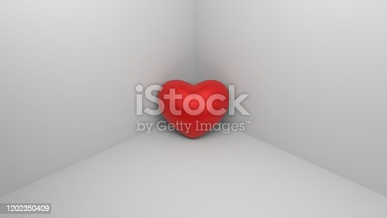 istock Red heart in a corner. Alone, lonely, loneliness heart. 3D-rendering 1202350409