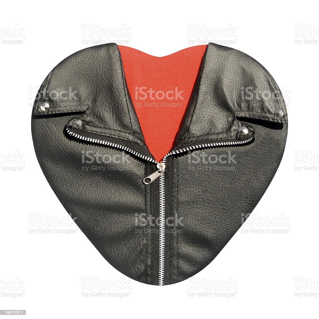 Red heart in leather rock and roll jacket stock photo
