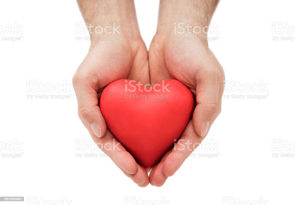 Red heart in man's hands stock photo