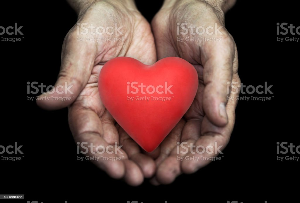 Red heart in senior hands over black background stock photo