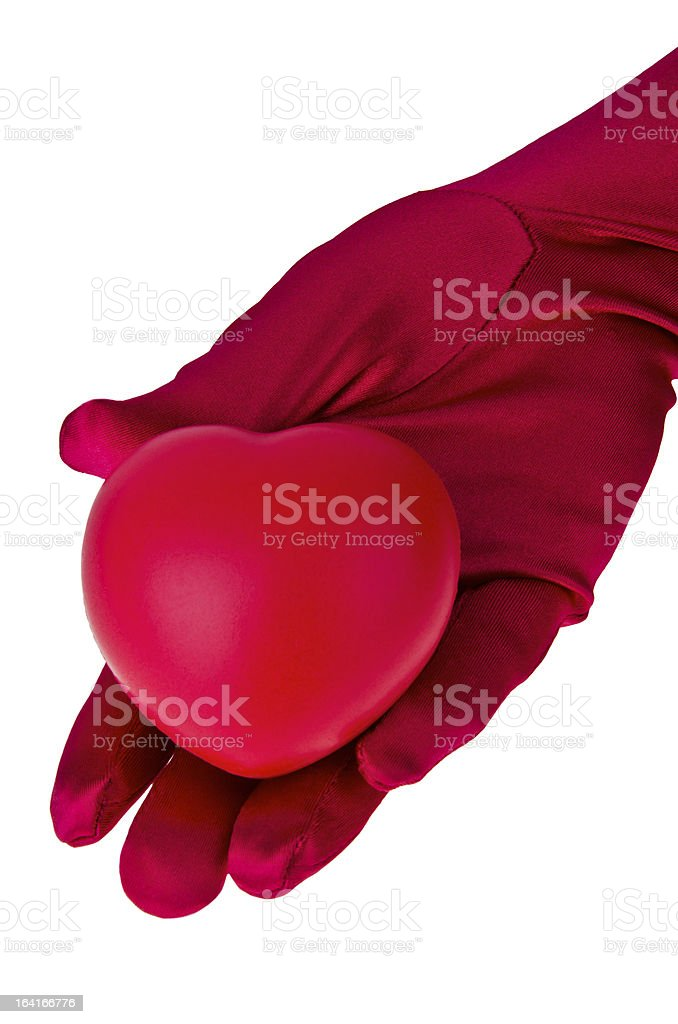 Red heart in woman hand royalty-free stock photo
