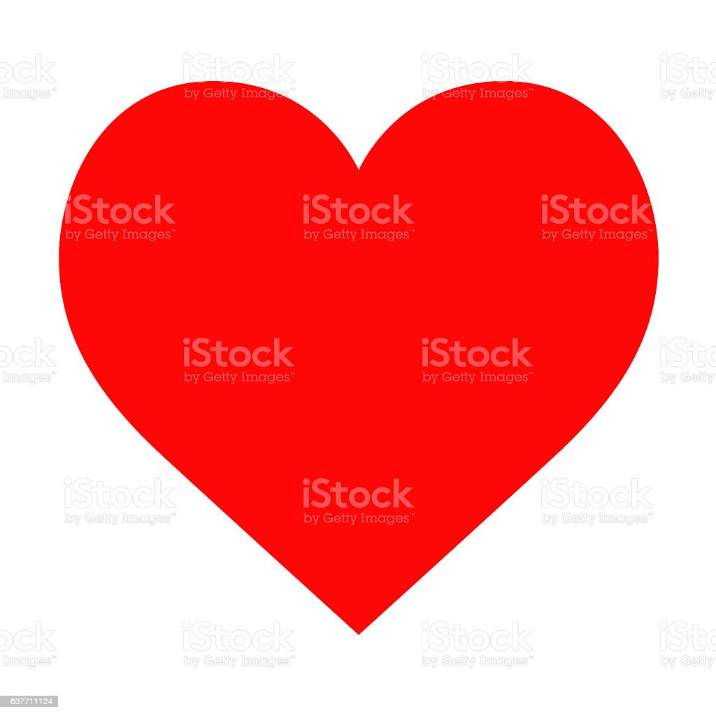 Red Heart Isolated on White Background stock photo