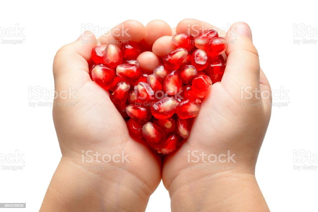 Red heart made of pomegranete seeds in the child hands. Isolated. stock photo