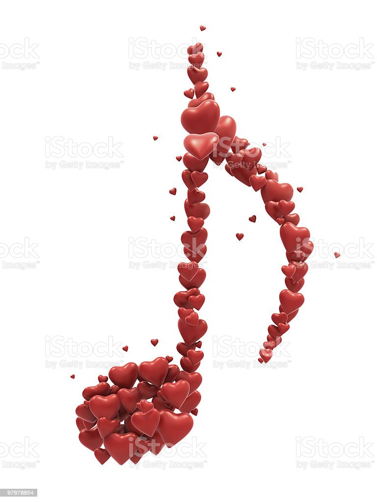 Red heart music symbol royalty-free stock photo