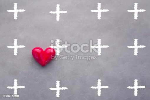 istock red heart object with drawing of plus symbol 623615398