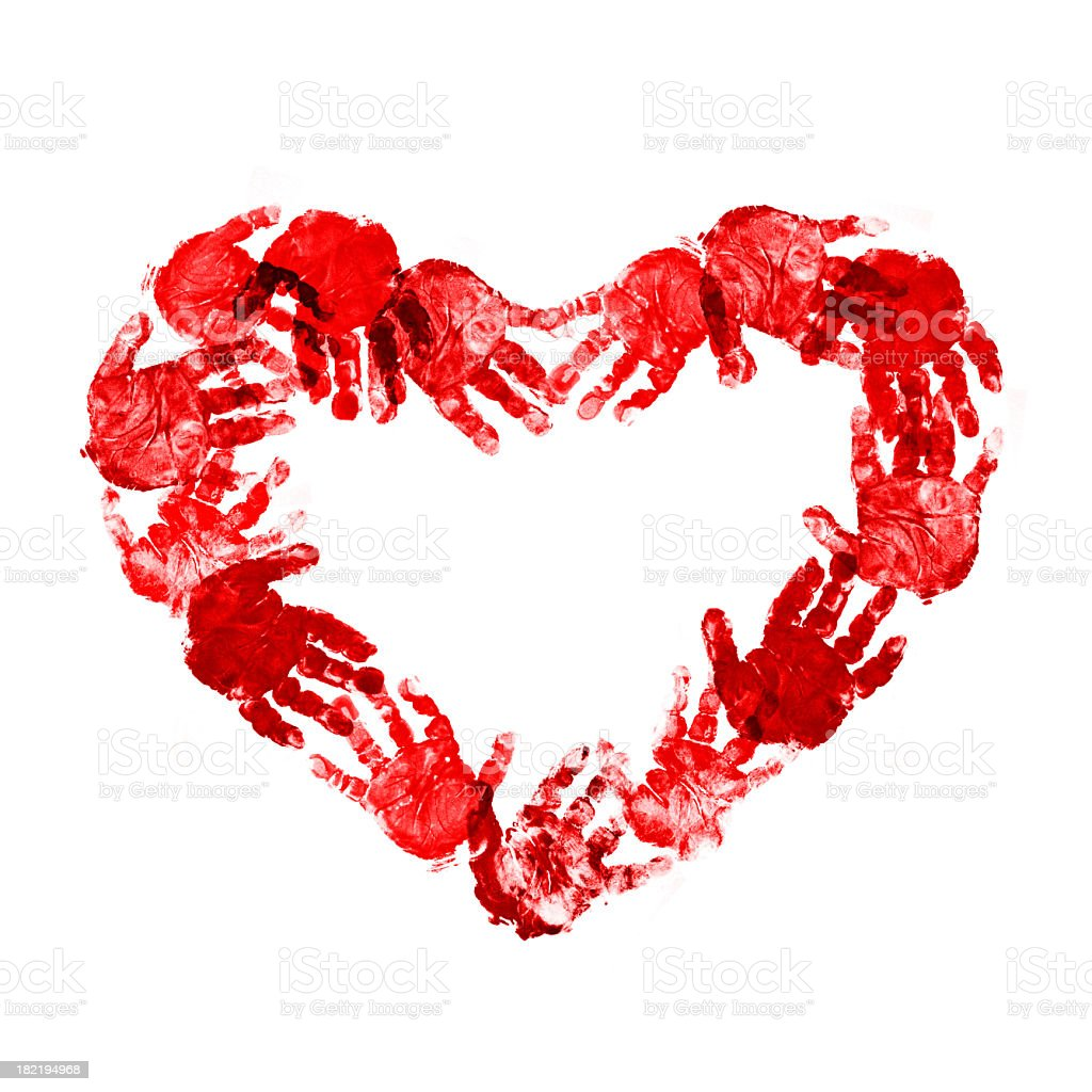 Red Heart of baby handprint royalty-free stock photo