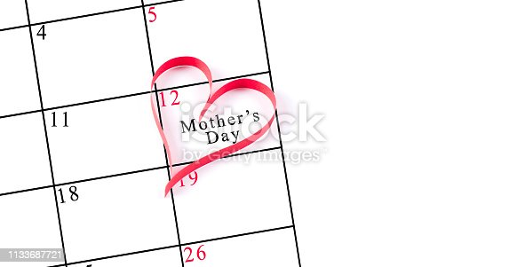 istock Red heart on 12 may mother's day calendar 1133687721