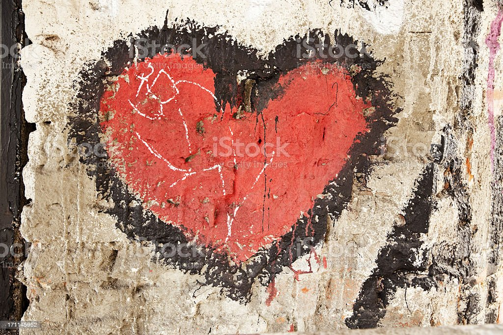 Red heart on a wall. royalty-free stock photo