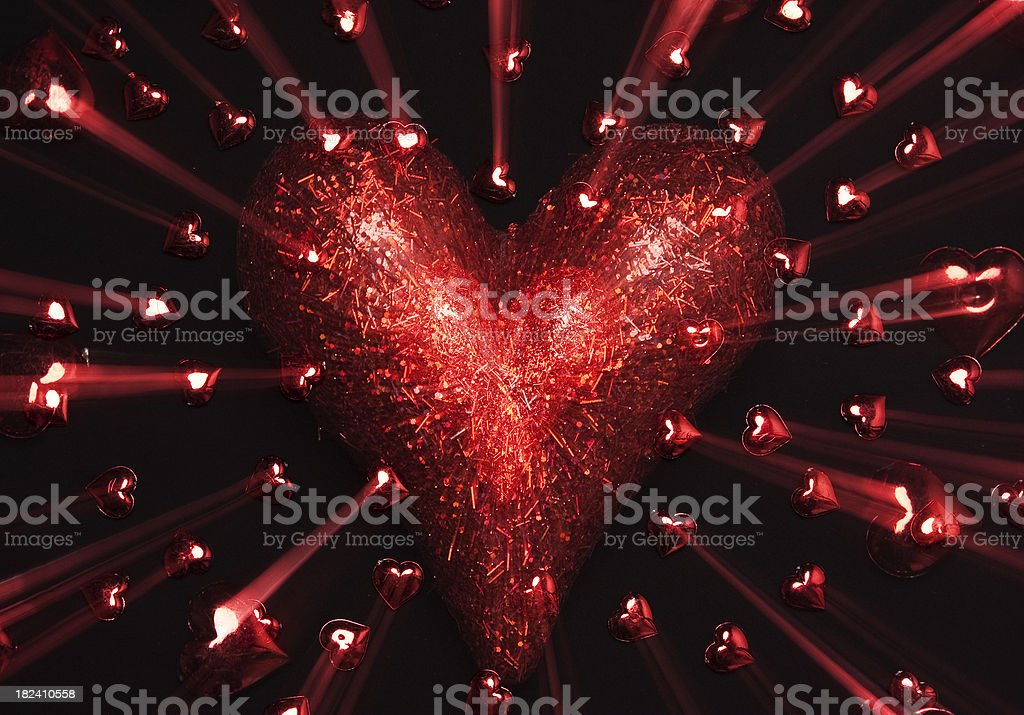 Red Heart on black royalty-free stock photo