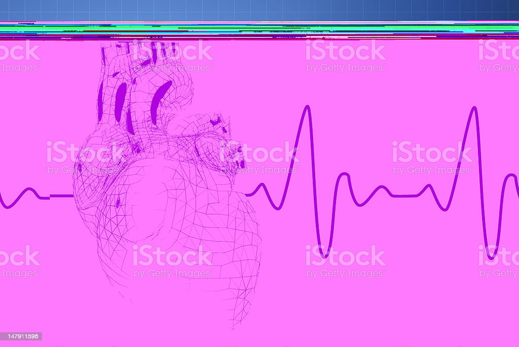 Red heart on blue background with pulse trace stock photo