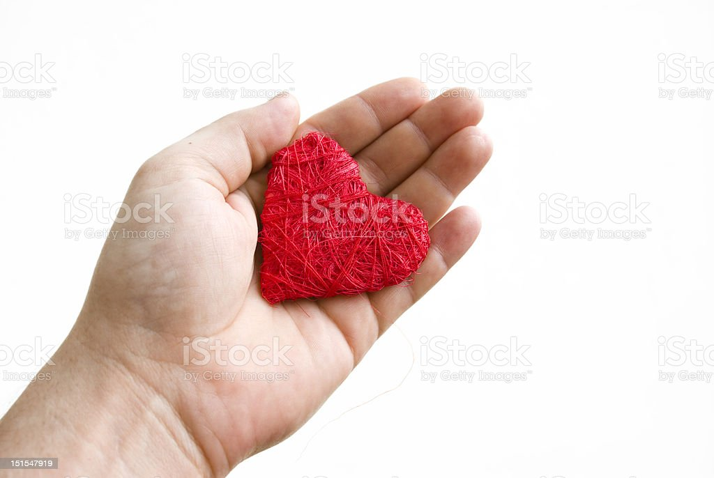 Red heart on palm royalty-free stock photo