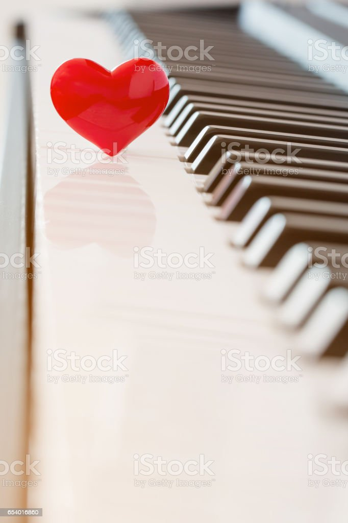 Red Heart On Pianolove Concept Stock Photo More Pictures Of Art