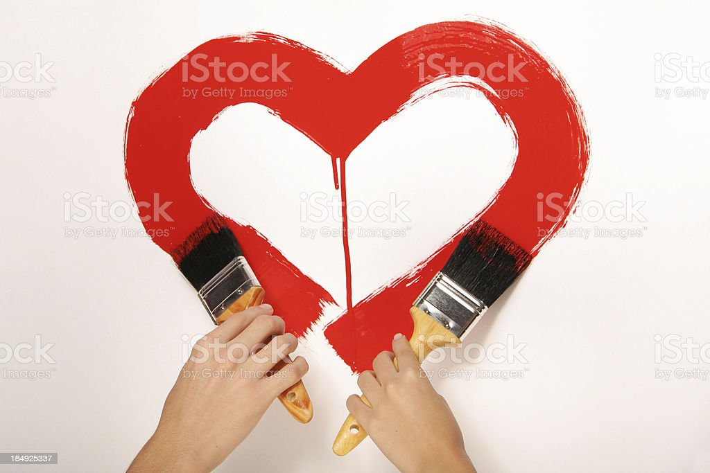 Red Heart on The Wall stock photo