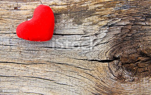 istock Red heart on the wooden background 640946882