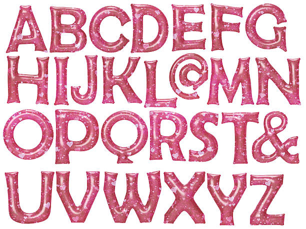 red heart pattern alphabet foil balloon set with clipping path - ampersand stock pictures, royalty-free photos & images