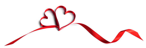 Red heart ribbon on white stock photo
