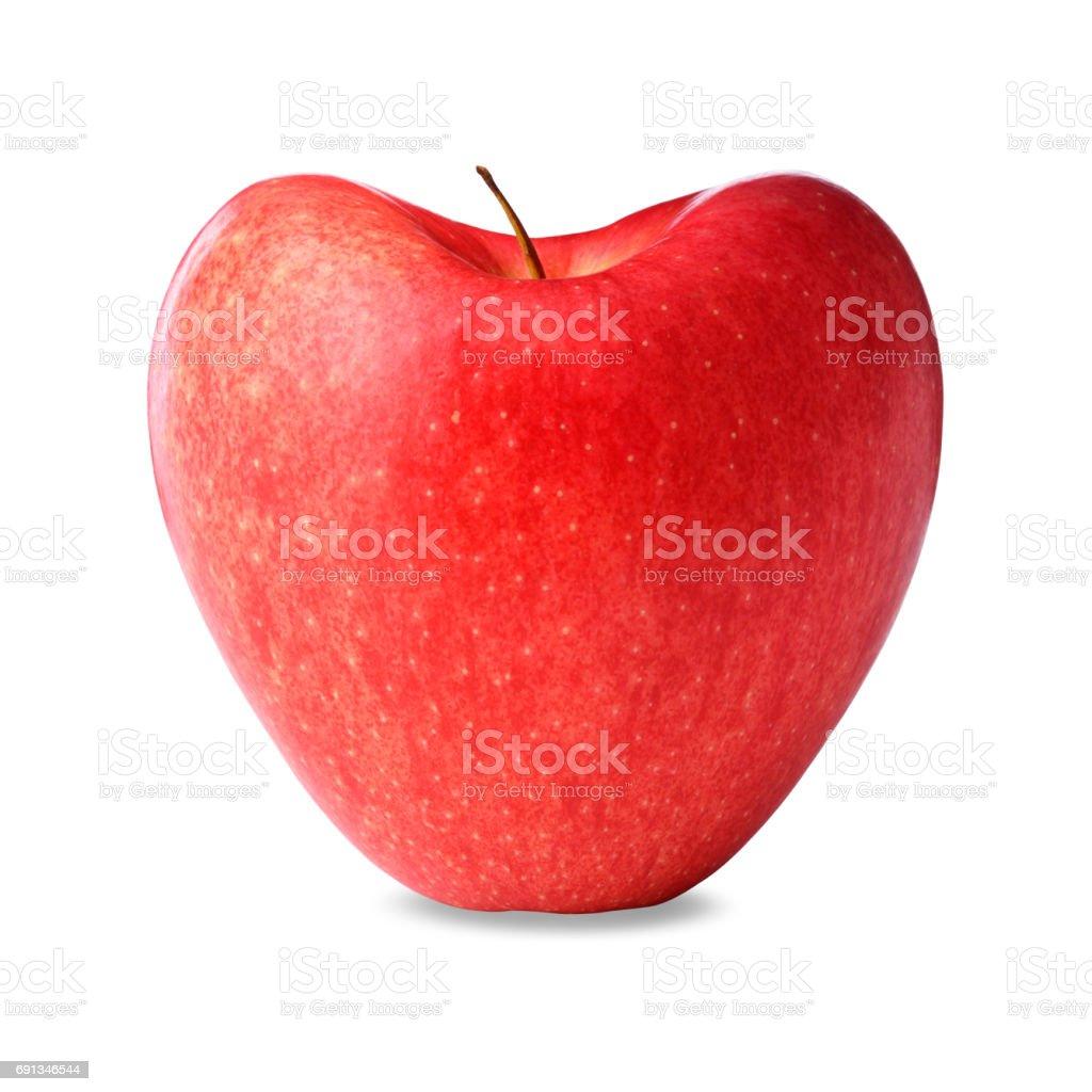 Red heart shape apple stock photo