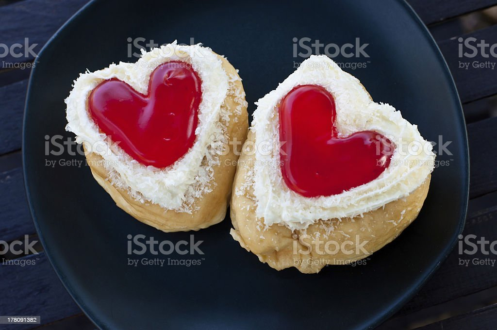 red heart  shape of  donut. royalty-free stock photo