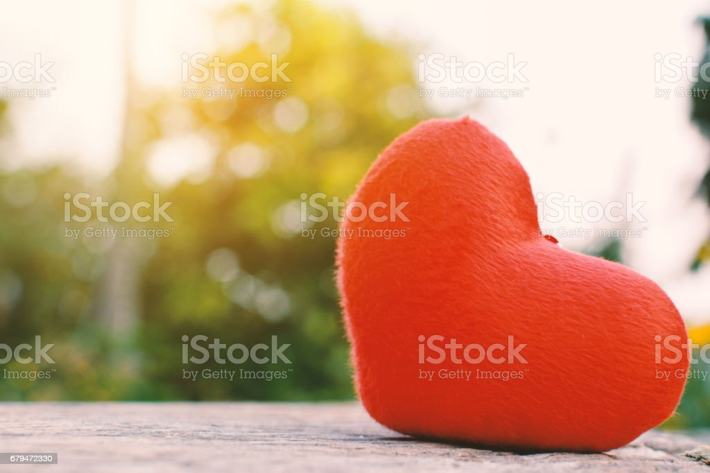 Red heart shape on old wood and bokeh background 免版稅 stock photo