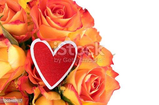 Red Heart Shape On Orange Roses