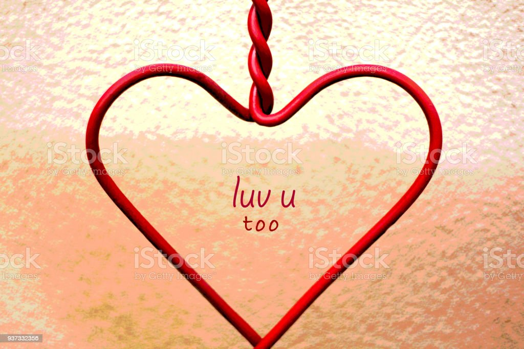 Red Heart Shape with 'luv u too' Inside stock photo