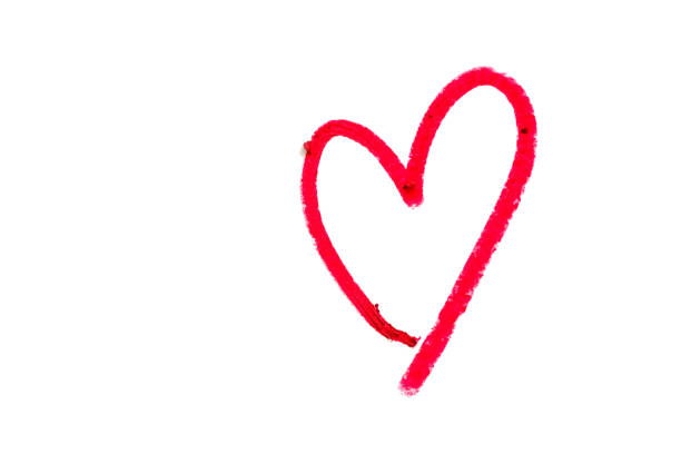 red heart shape written from red lipstick on white background with copy space for valentine's day and love concept - heart shape stock pictures, royalty-free photos & images