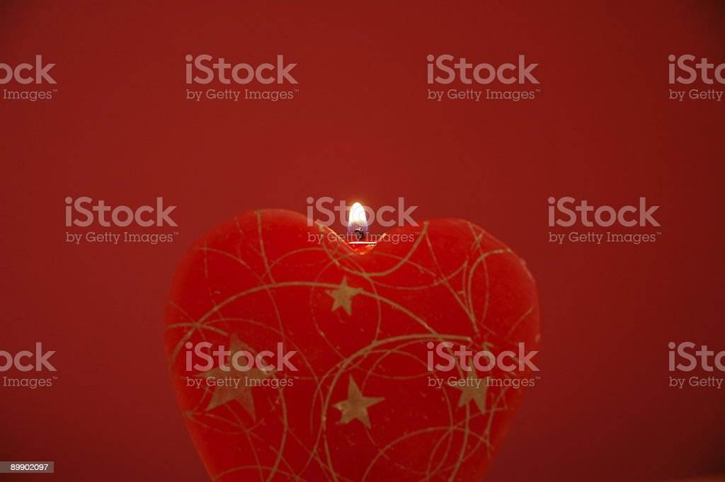 Red heart shaped candle royalty-free stock photo