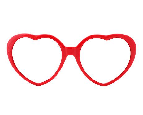 Red heart shaped eyeglasses frames