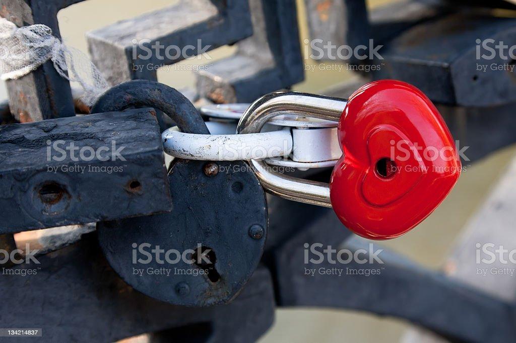 Red heart shaped lock royalty-free stock photo