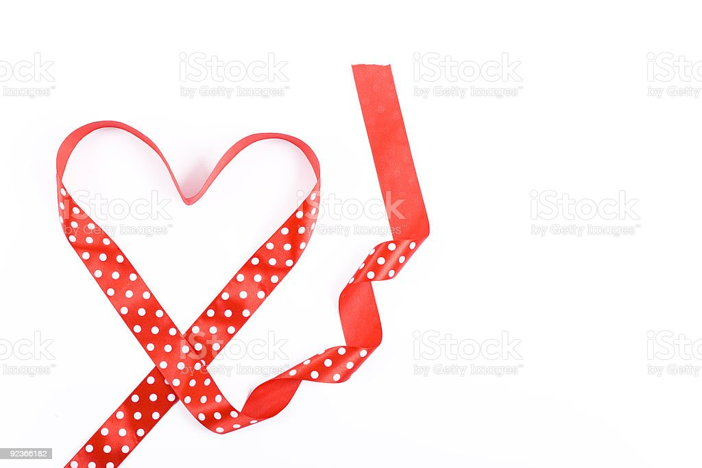 red heart shaped ribbon royalty-free stock photo