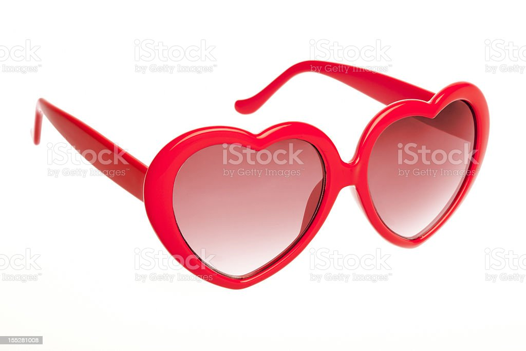 Red heart shaped sunglasses stock photo