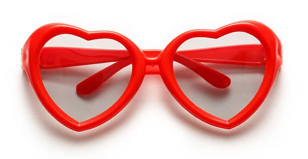 Red heart shaped sunglasses stock photo