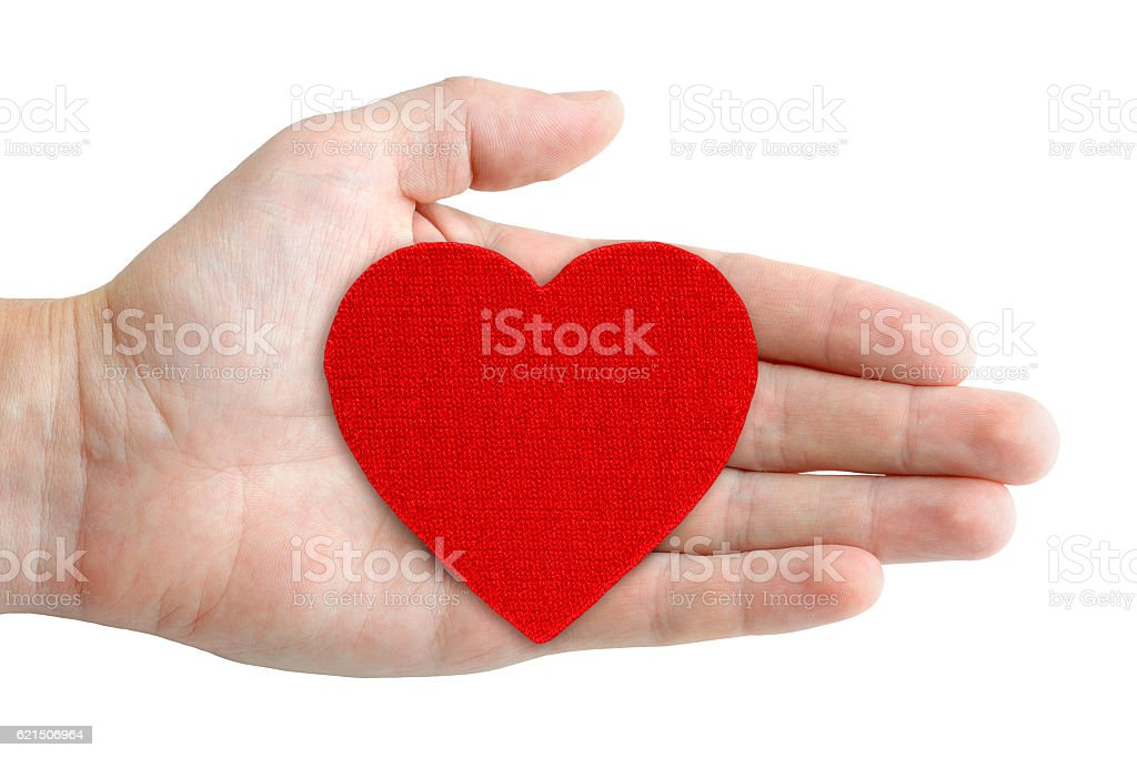 Red heart symbol in hand isolated on white background photo libre de droits