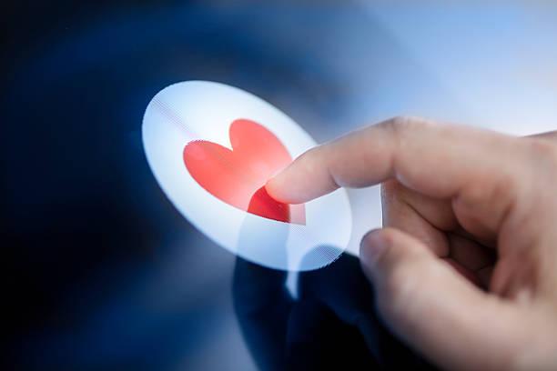Rote Herz-Touchscreen – Foto