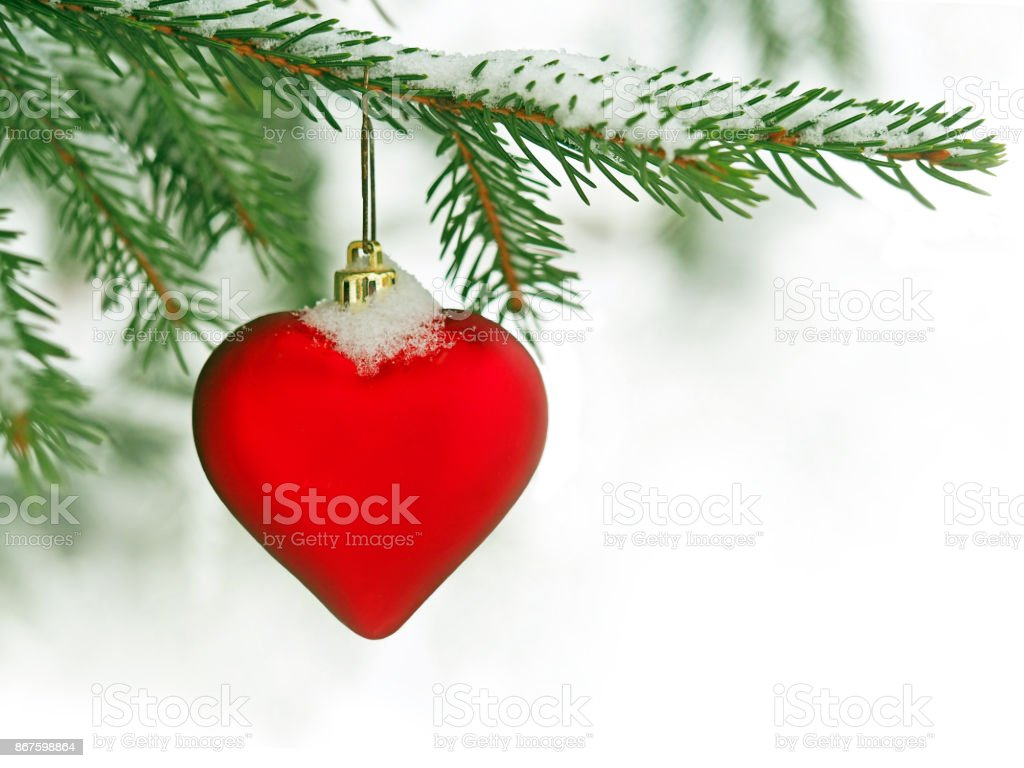 Red Heart Toys On The Christmas Tree Background Love