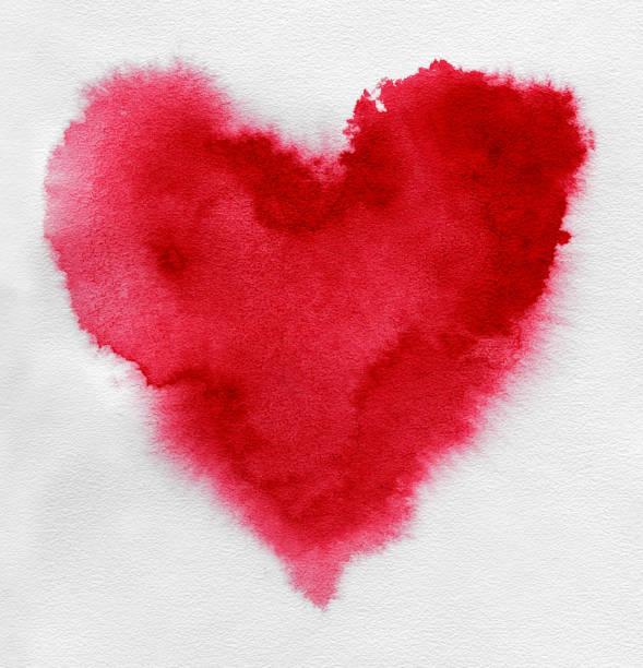 Rote Herzen. Aquarell in Form von Herzen. – Foto
