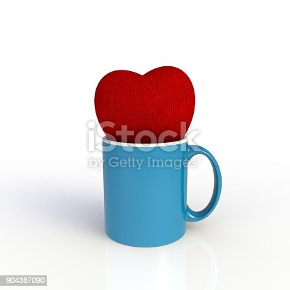 902096164 istock photo Red heart with blue coffee cup isolated on white background. Mock up Template for application design. Exhibition equipment. Set template for the placement of the logo. 3D rendering. 904387090
