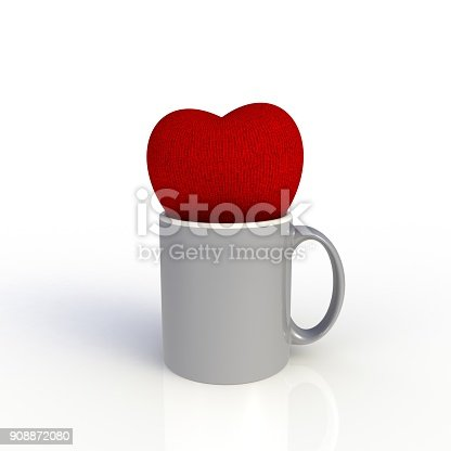 904387004 istock photo Red heart with gray coffee cup isolated on white background. Mock up Template for application design. Exhibition equipment. Set template for the placement of the logo. 3D rendering. 908872080