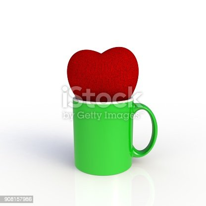 904387004 istock photo Red heart with green coffee cup isolated on white background. Mock up Template for application design. Exhibition equipment. Set template for the placement of the logo. 3D rendering. 908157986