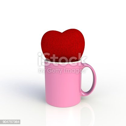 904387004 istock photo Red heart with pink coffee cup isolated on white background. Mock up Template for application design. Exhibition equipment. Set template for the placement of the logo. 3D rendering. 904757364