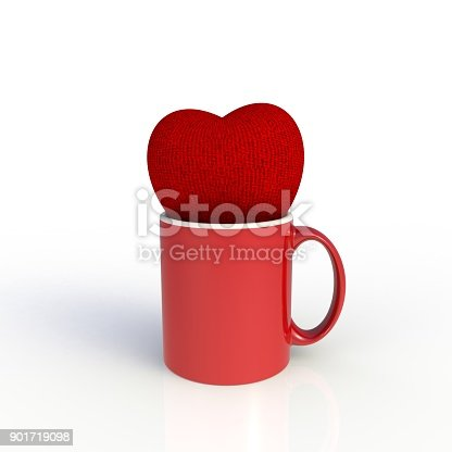 904387004 istock photo Red heart with red coffee cup isolated on white background. Mock up Template for application design. Exhibition equipment. Set template for the placement of the logo. 3D rendering. 901719098