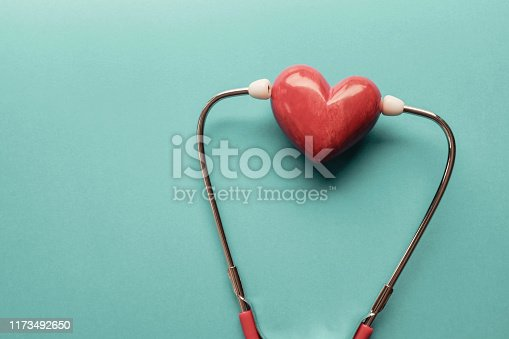 istock Red heart with stethoscope, heart health,  health insurance concept, World heart day, world health day 1173492650
