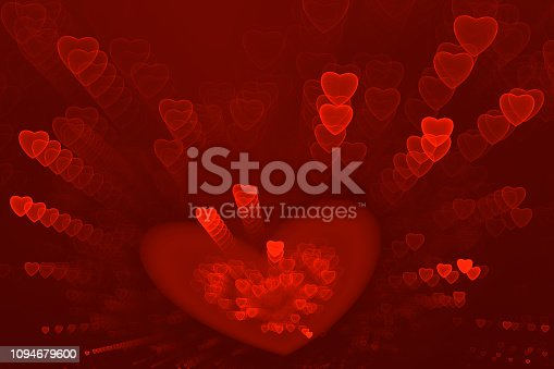 908708148 istock photo Red Hearts Confetti Pattern Abstract Valentine's, Sweetest Day Love Firework Exploding Neon Ombre Background Fractal Holiday Bright Fine Art 1094679600