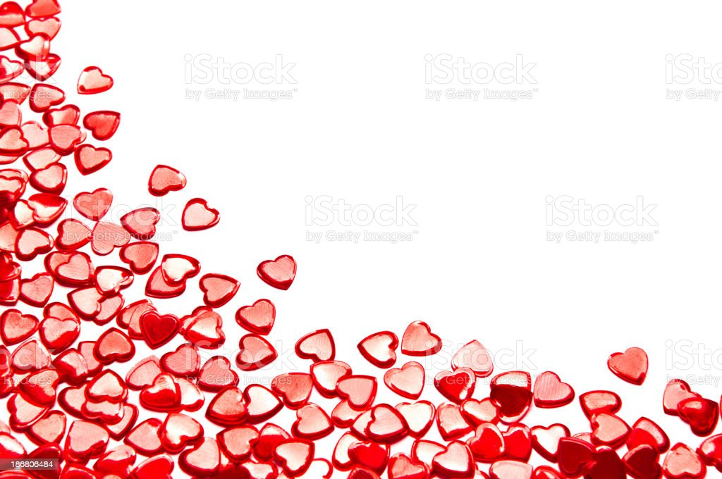 Red hearts isolated on white good for Valentine's Day royalty-free stock photo