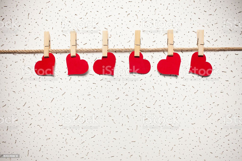 red hearts on a clothespin foto de stock royalty-free