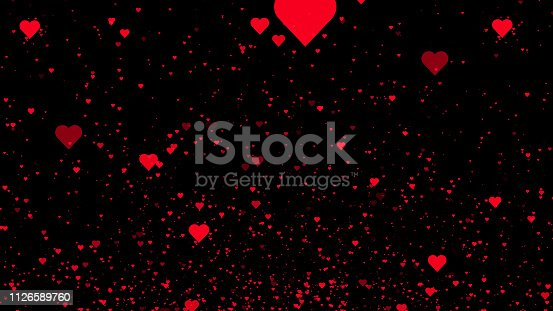 istock Red hearts on black background. 3D illustration background 1126589760